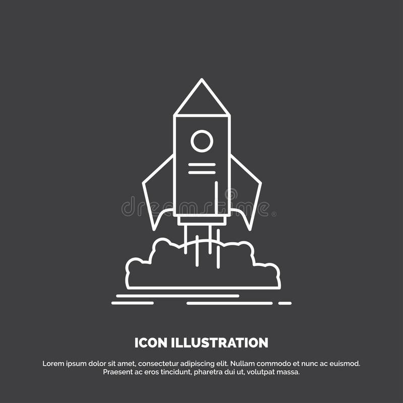 launch, startup, ship, shuttle, mission Icon. Line vector symbol for UI and UX, website or mobile application royalty free illustration