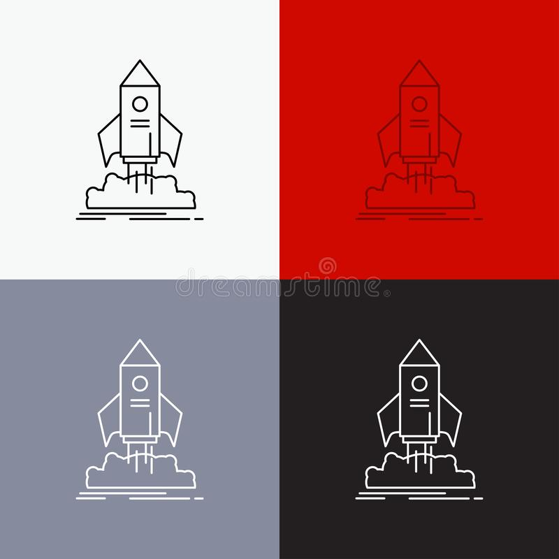 launch, startup, ship, shuttle, mission Icon Over Various Background. Line style design, designed for web and app. Eps 10 vector royalty free illustration