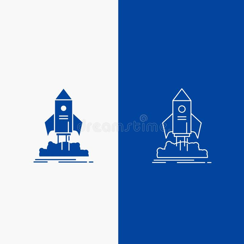 launch, startup, ship, shuttle, mission Line and Glyph web Button in Blue color Vertical Banner for UI and UX, website or mobile stock illustration