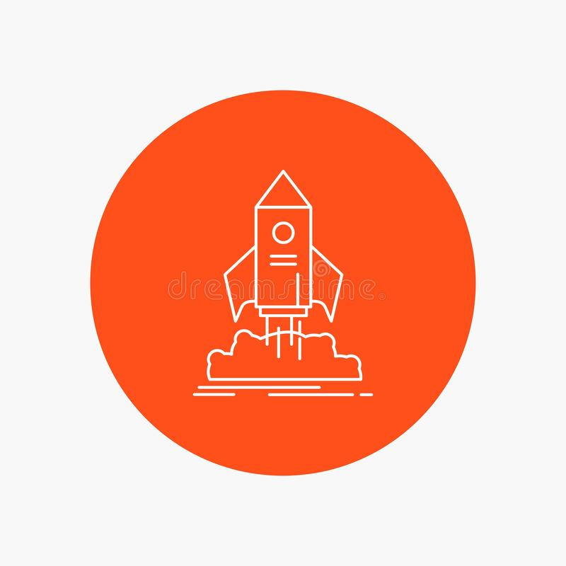 launch, startup, ship, shuttle, mission White Line Icon in Circle background. vector icon illustration stock illustration