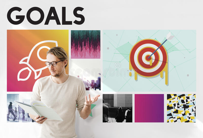 Launch Target Goals Rocketship Graphic Concept stock photography