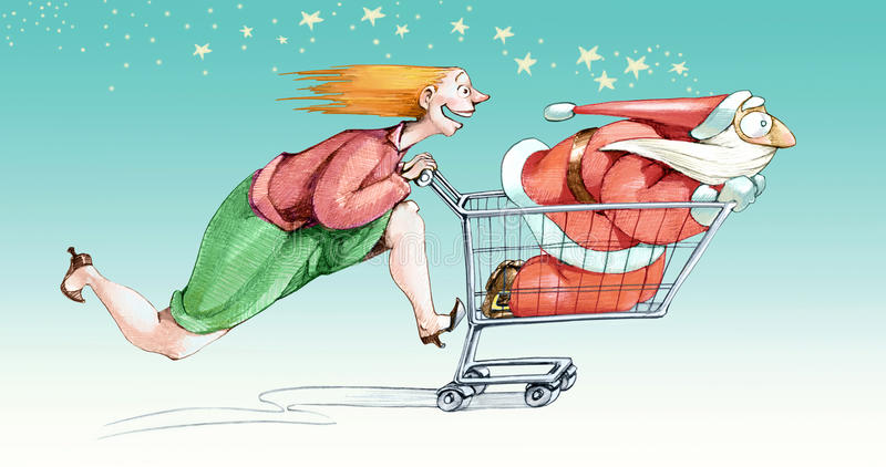 Launched in Christmas shopping. A woman excited fast pushes a cart in a Santa Claus with a little scared by the speed vector illustration