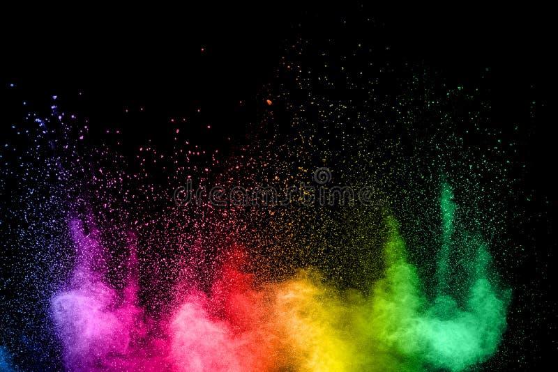 Colorful background of pastel powder.Multi colored dust splash on black background.Painted Holi royalty free stock photo