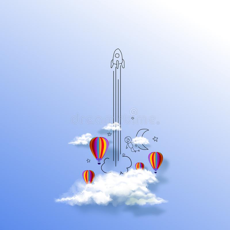 Launched rocket. Clouds and sky with colorful balloons, Rocket flying through clouds to space. Start up business stock illustration