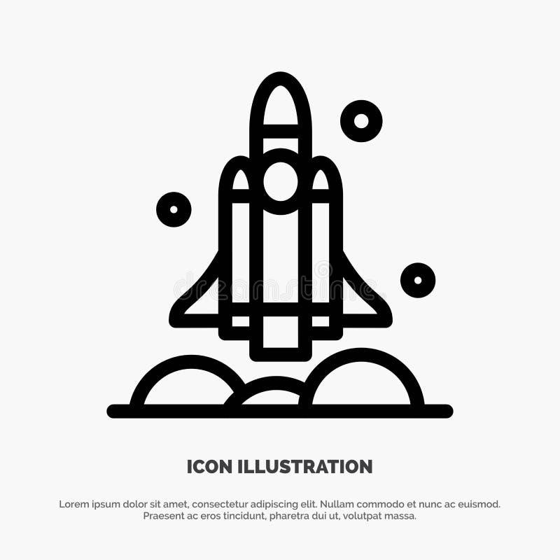 Launcheren raket, rymdskeppet, transport, USA fodrar symbolsvektorn vektor illustrationer