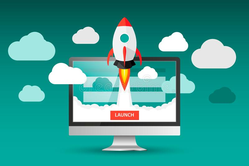 Launching app project on desktop computer concept. Rocket fly out of monitor. Start up, business idea isolated on white. Vector Il. Lustration EPS 10 royalty free illustration