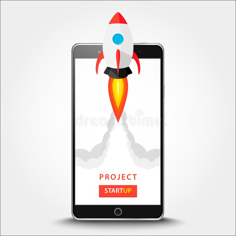 Launching app project on smart phone desktop concept. Rocket fly out of monitor. Start up, business idea isolated on white. Vector. Illustration EPS 10 stock photos