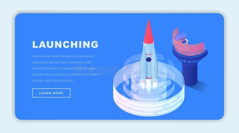 Launching business isometric landing page template. Navigation operator, engineer sending 3d rocket to space. Starting. Launching projects isometric landing page stock illustration