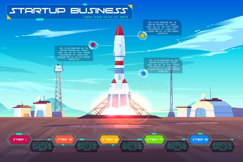 Startup business launching cartoon vector banner vector illustration