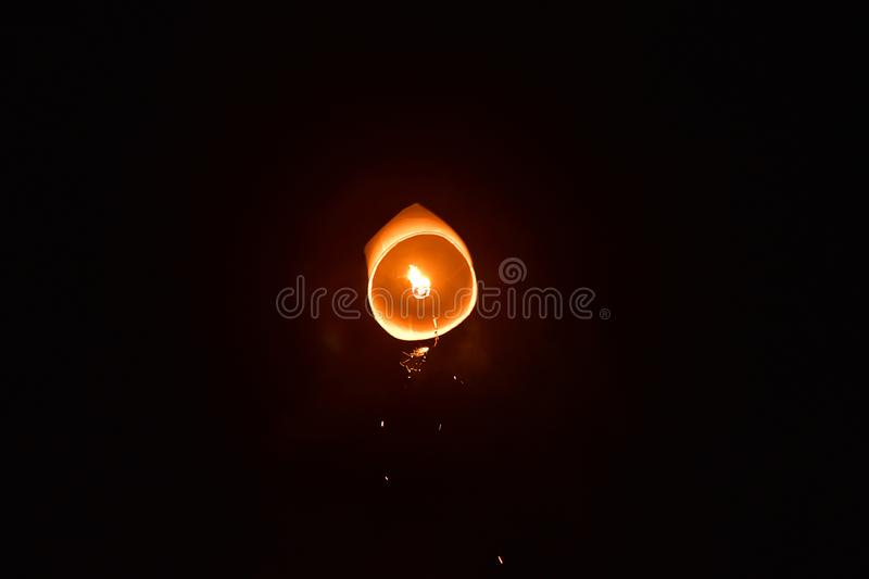 Launching floating lanterns Yeepeng Festival in Chiangmai city stock images