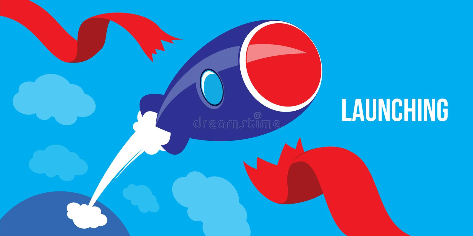 Launching Ideas. Startup Concept Flat Design Rocket Launch royalty free illustration