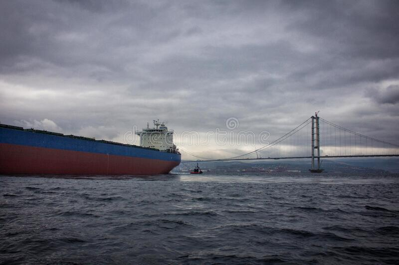 Launching of renovated tanker cargo ship from dock to water.  royalty free stock photography