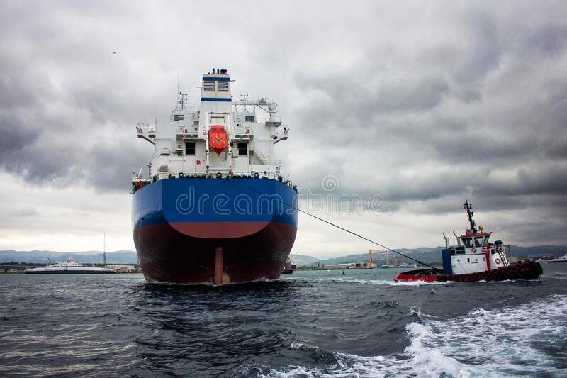 Launching of renovated tanker kargo ship from dock to water.  royalty free stock images