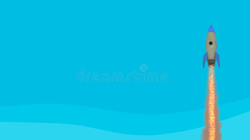 Launching rocket on blue background. Startup and break through concept. 3D Rendering royalty free illustration