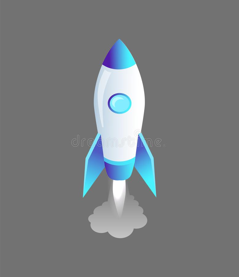 Launching Rocket Craft Icon Vector Illustration. Launching rocket craft isolated icon vector isometric 3d. Spaceship with sharp top and window made of glass royalty free illustration