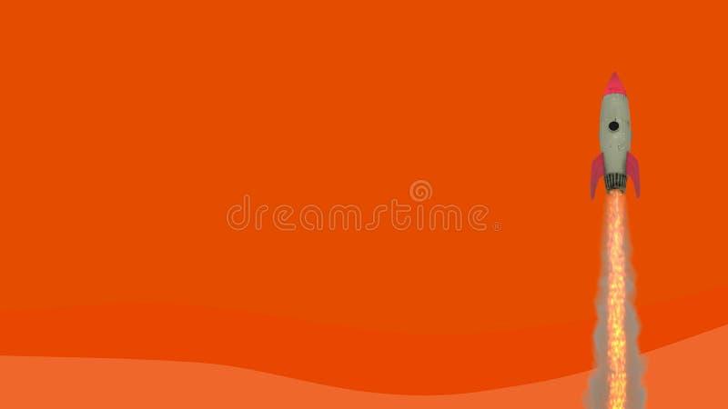 Launching rocket on orange background. Startup and break through concept. 3D Rendering.  stock illustration