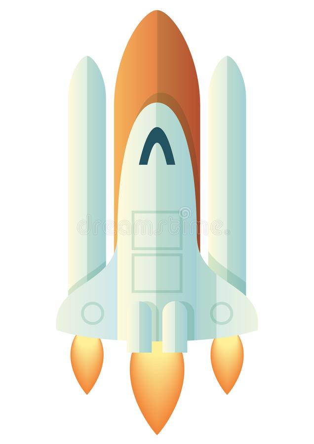 Launching Rocket on White. Clean cartoon style illustration of a launching rocket. Vector space shuttle taking off isolated on white. Nice light and simple stock illustration