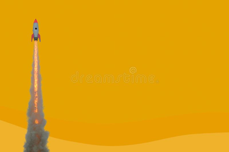 Launching rocket on yellow background. Startup and break through concept. 3D Rendering vector illustration