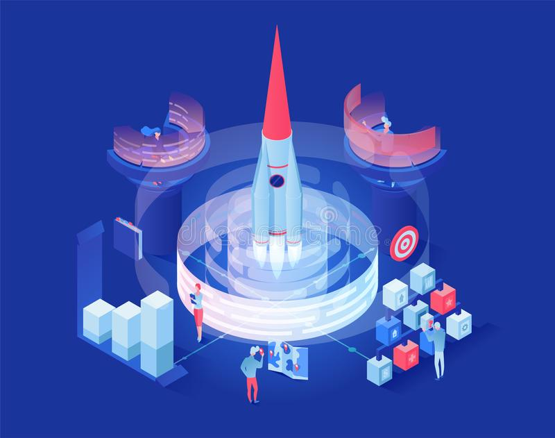 Launching shuttle in space isometric illustration. Futuristic space exploration research center workers cartoon vector illustration
