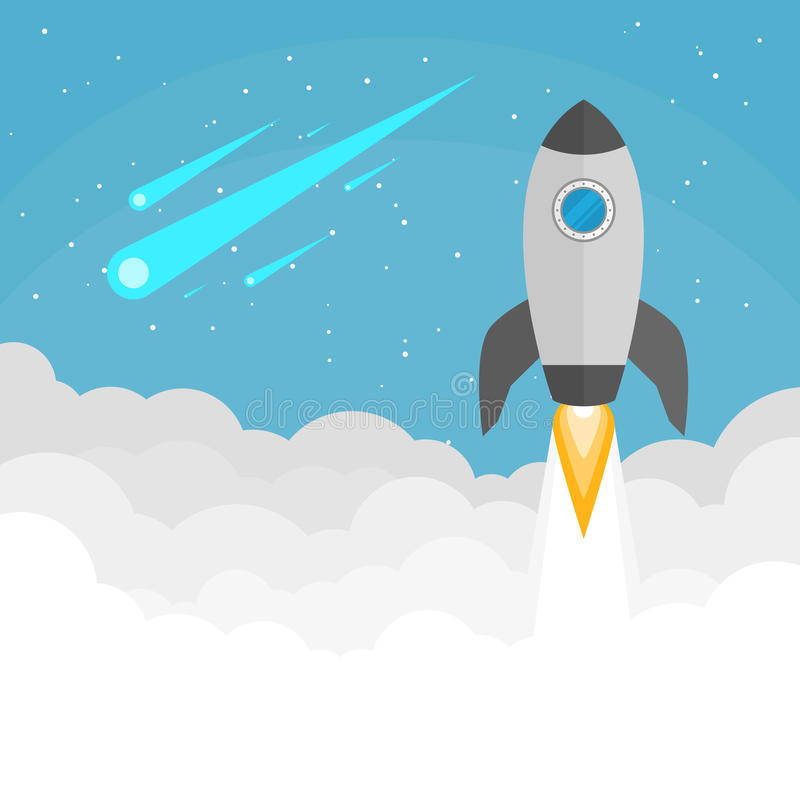 Launching space rocket background. Background of space rocket launching towards the sky stock illustration