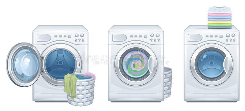 Launder. Washing machine on a white background royalty free illustration