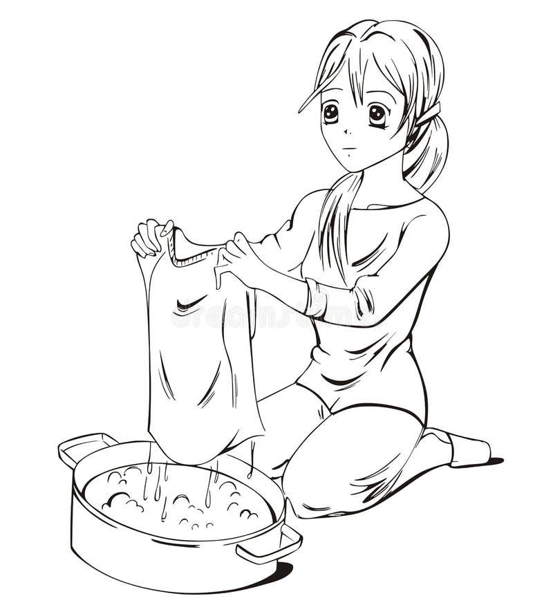 Laundress Anime иллюстрация вектора