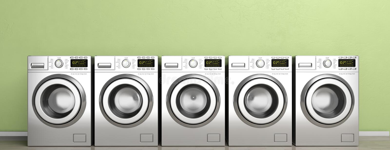 Clothes washers, dryer machines on wooden floor, green wall background, banner. 3d illustration vector illustration