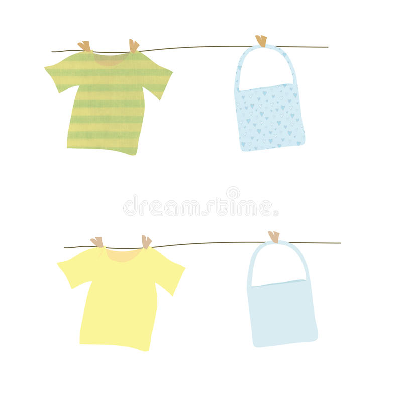Laundry. A tshirt and a tote bag in two version. One is plain and the other one is texturized with stripes and hearts. Enjoy vector illustration
