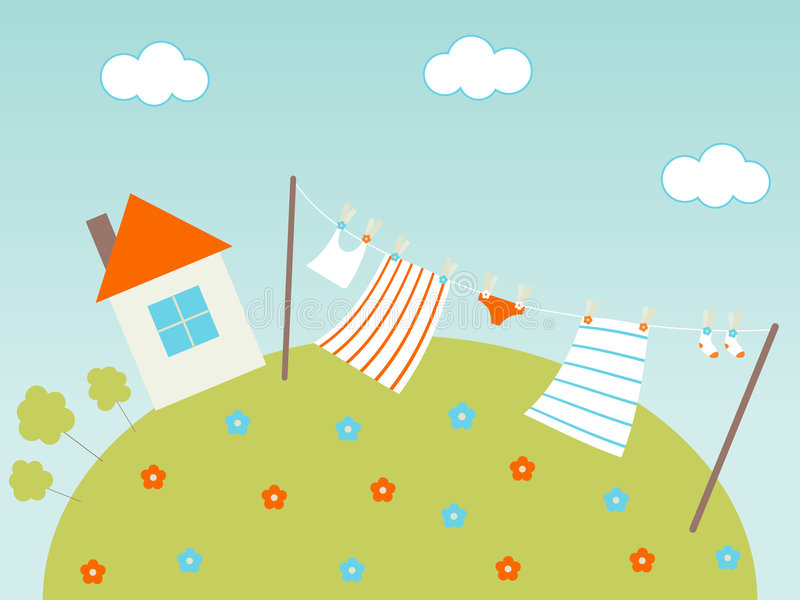 Laundry. Drying on fresh air vector illustration