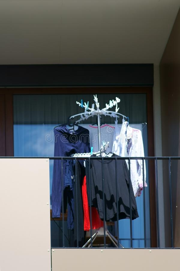 Laundry on the balcony royalty free stock photos