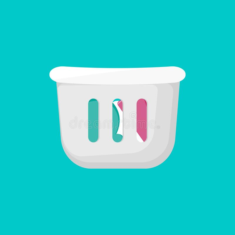 Laundry basket for bathroom. Cartoon icon stock illustration