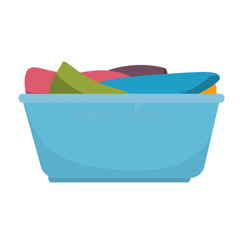 Laundry basket with clothes. Illustration design stock illustration
