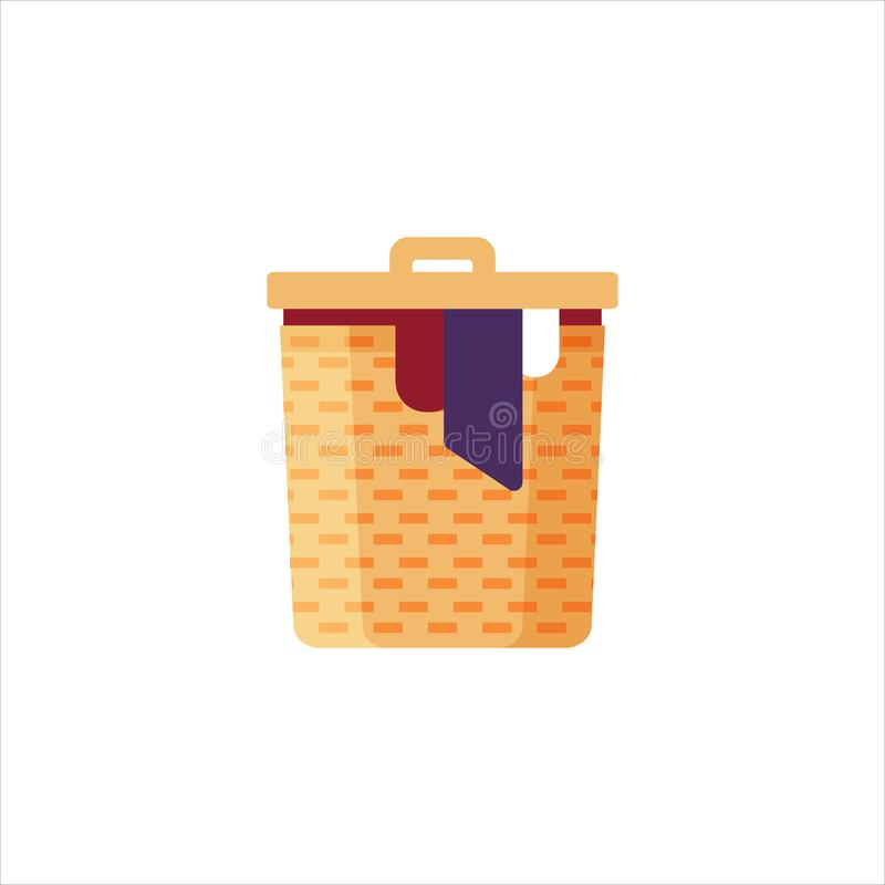 Laundry basket with dirty clothes isolated on white background. Cleaning service - flat vector illustration.  royalty free illustration