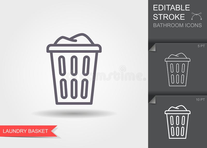 Laundry basket with dirty clothes outline icon. Line icon with editable stroke with shadow vector illustration