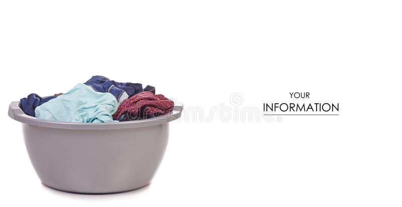 Laundry basket dirty wash clean pattern. On white background isolation stock images