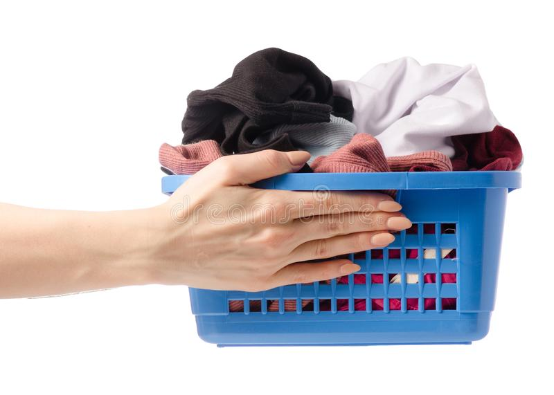 Laundry basket in hand dirty wash clean stock photos
