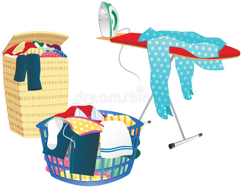 Laundry basket and ironing board vector illustration