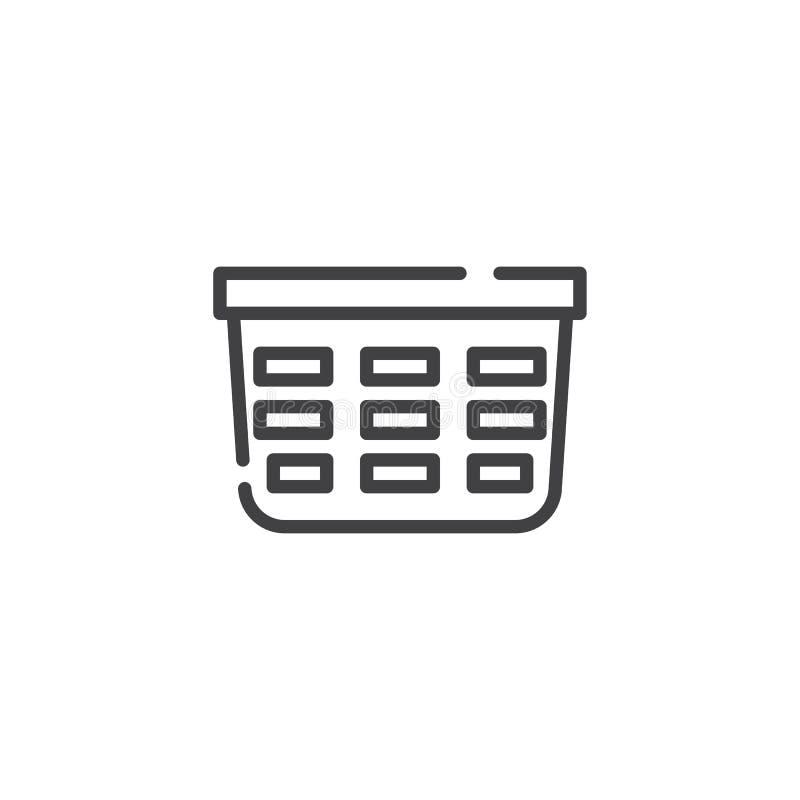 Laundry basket line icon vector illustration