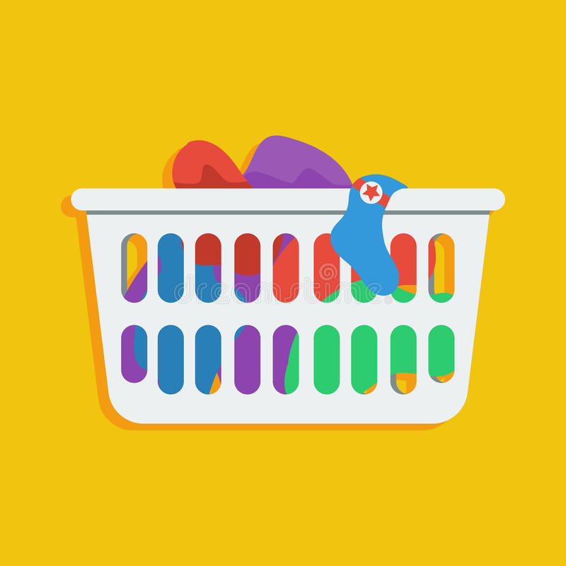 Laundry basket vector icon illustration. Flat style icon of loundry basket with dirty clothes stock illustration