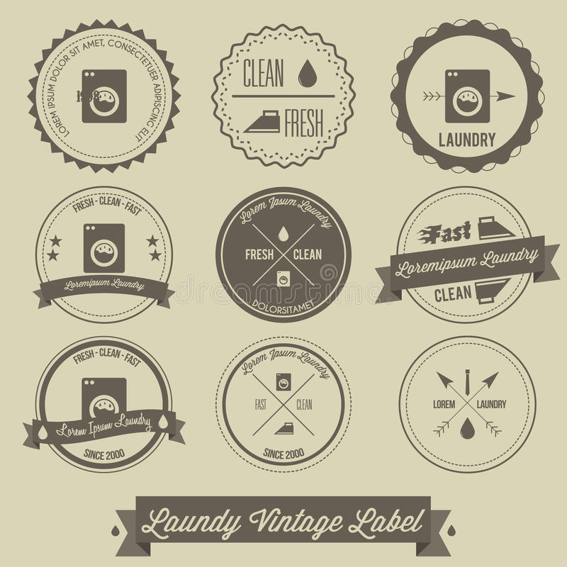 Laundry business vintage label stock illustration