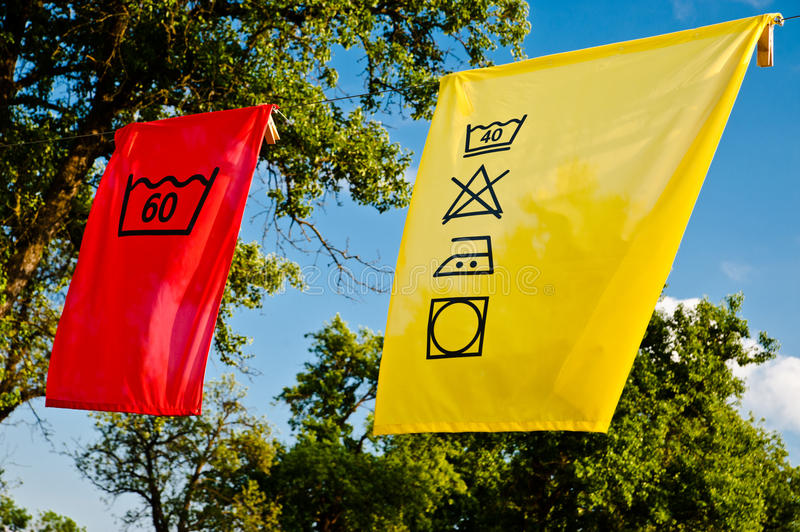 Laundry Care Symbols. Hanging on a Clothesline stock photography