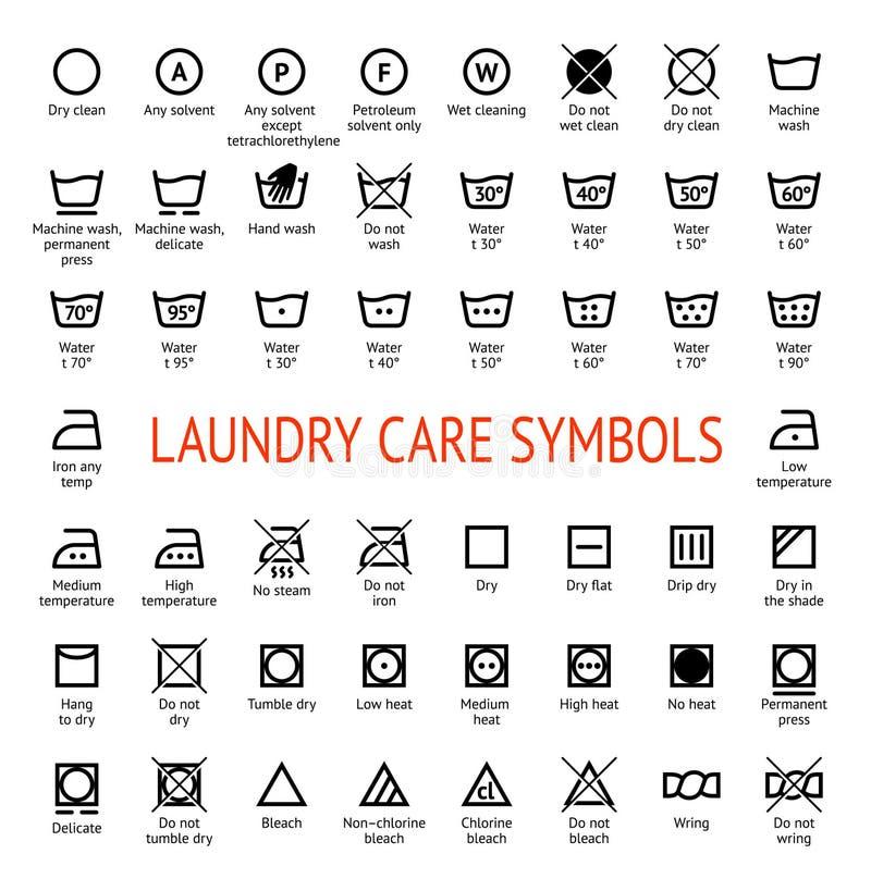Free Laundry Care Symbols. Cleaning Icons Set Stock Image - 115070731