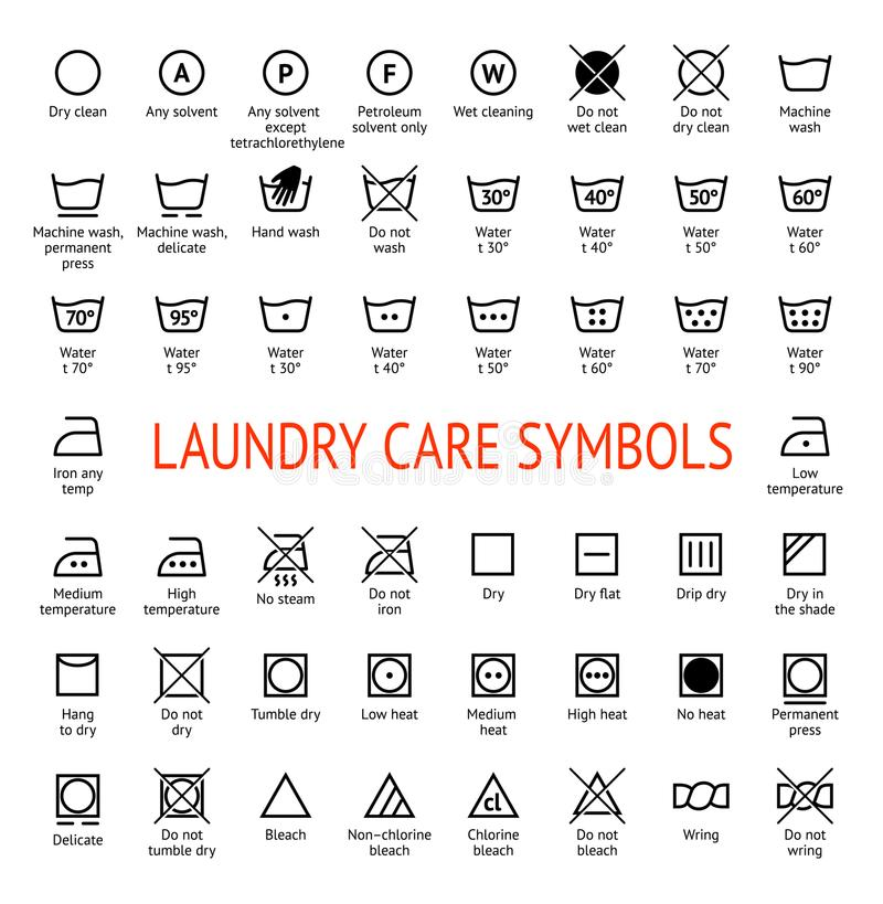 Laundry Care Symbols Cleaning Icons Set Stock Vector Illustration