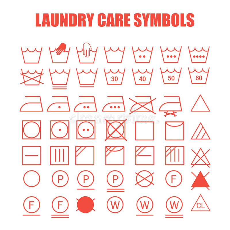 Laundry care symbols set. Wash, bleach, iron, dry and dry clean symbols vector illustration