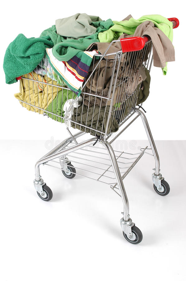 Laundry cart. Full of cloths stock photos