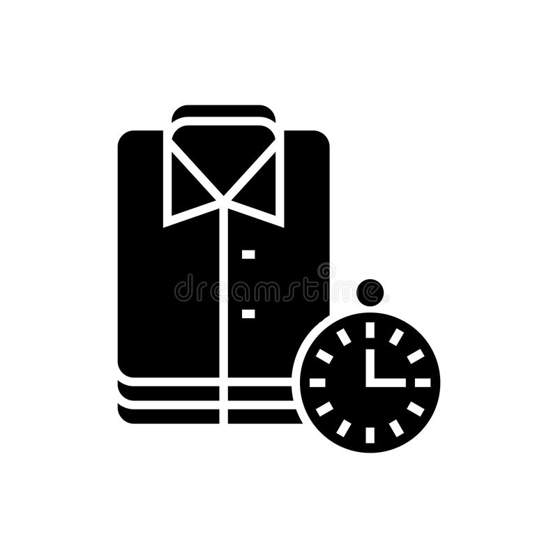 Laundry - cleaning cloths - express cleaning icon, vector illustration, black sign on isolated background. Laundry - cleaning cloths - express cleaning icon stock illustration