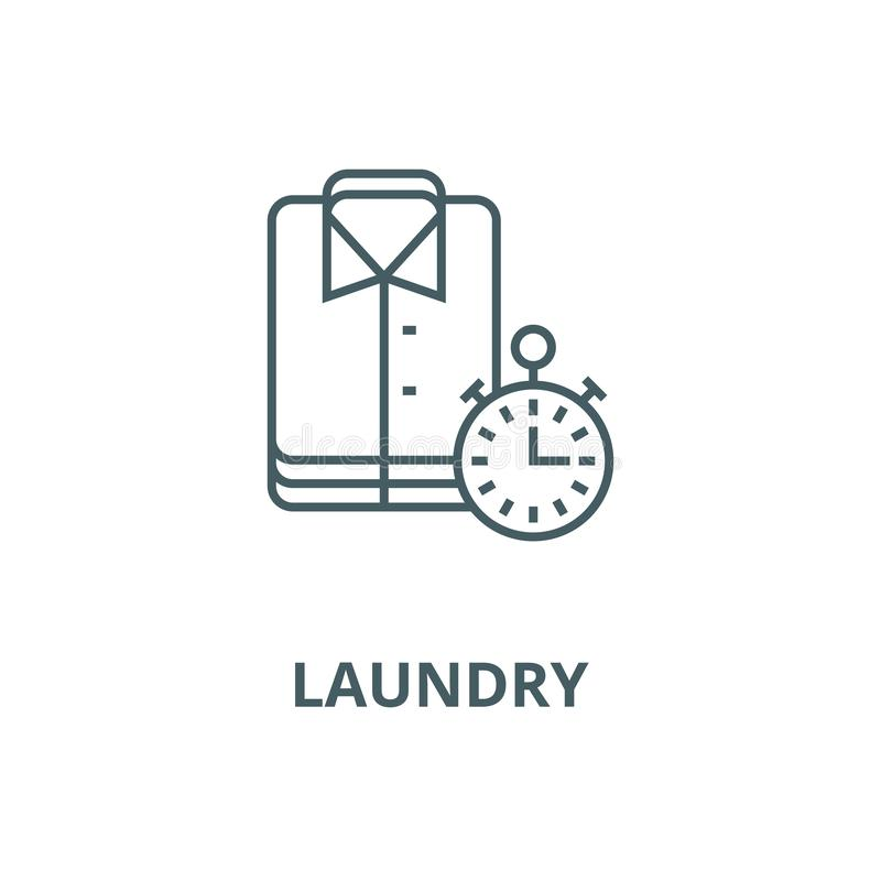 Laundry,cleaning cloths,express cleaning vector line icon, linear concept, outline sign, symbol. Laundry,cleaning cloths,express cleaning vector line icon stock illustration