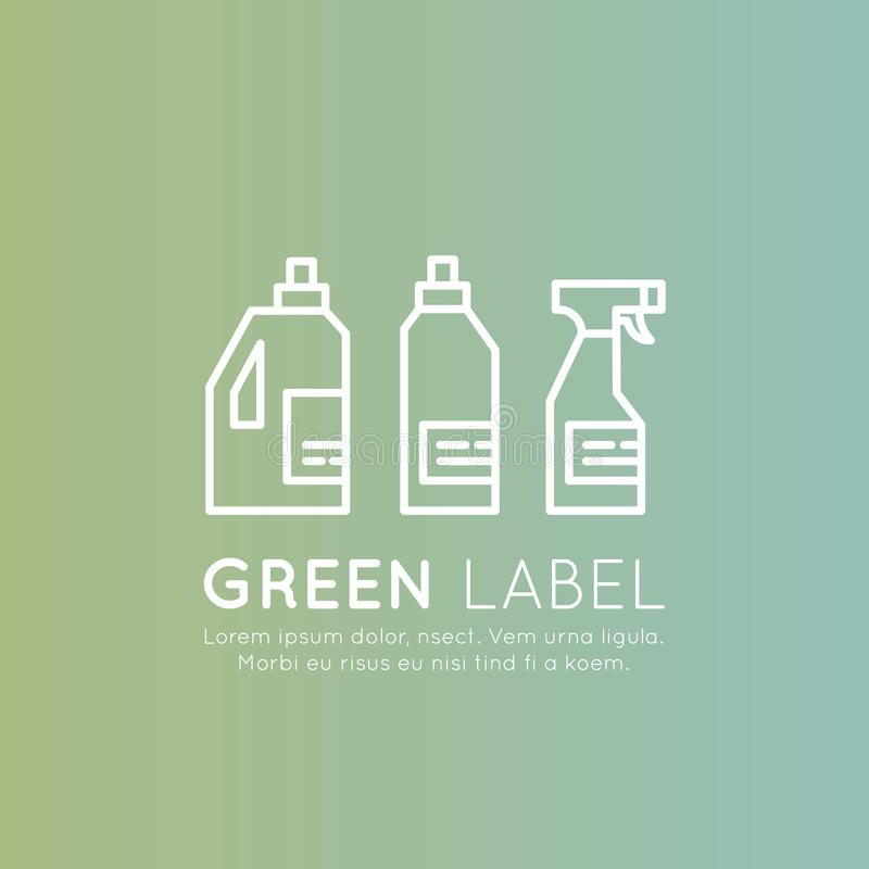 Laundry and Cleaning Liquid Bottles, ECO Green Ingredients, Natural Products, Environmentally Friendly stock illustration