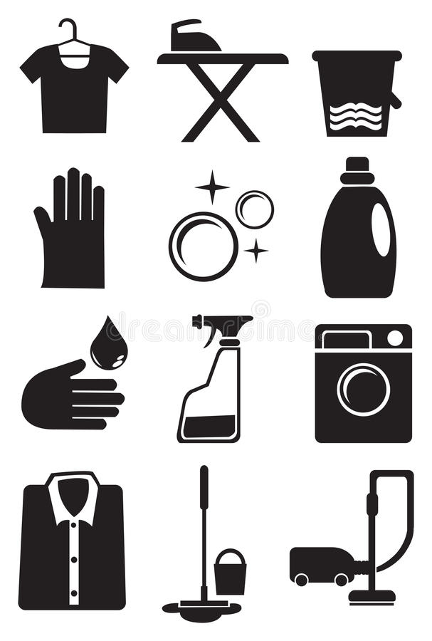 Laundry and Cleaning Service Icon Set. Vector illustration of icon set for laundry and cleaning services stock illustration