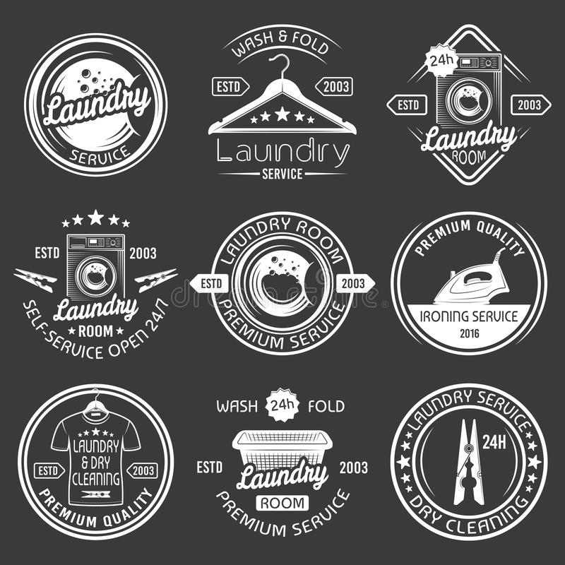 Laundry, cleaning service vector white emblems. Laundry room and dry cleaning service set of vector white emblems, labels and badges with washing machine, hanger stock illustration